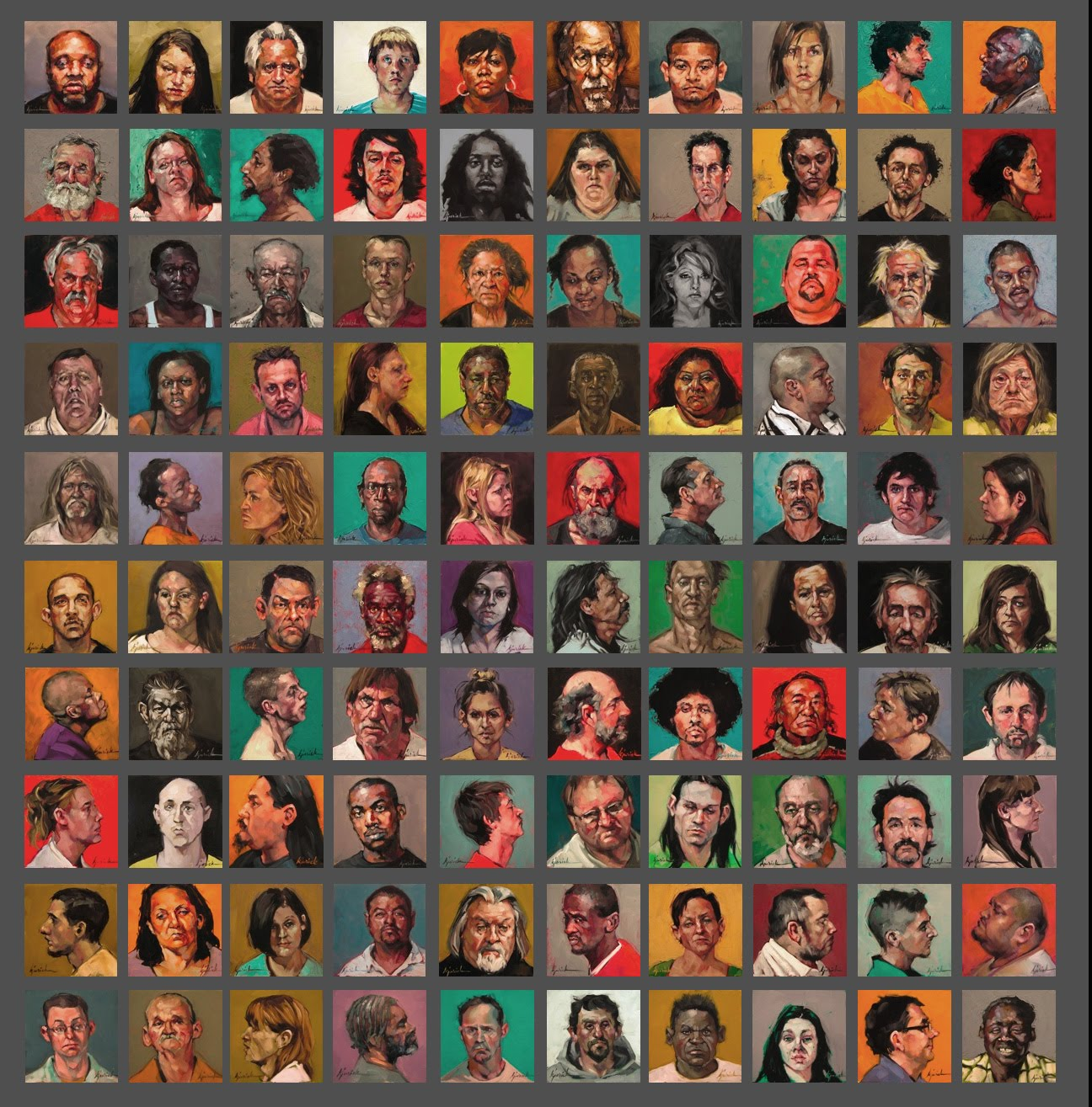 BUST-ED. Karin Jurick Completes Her 100 Faces, Paintings Of Actual Mugshots.