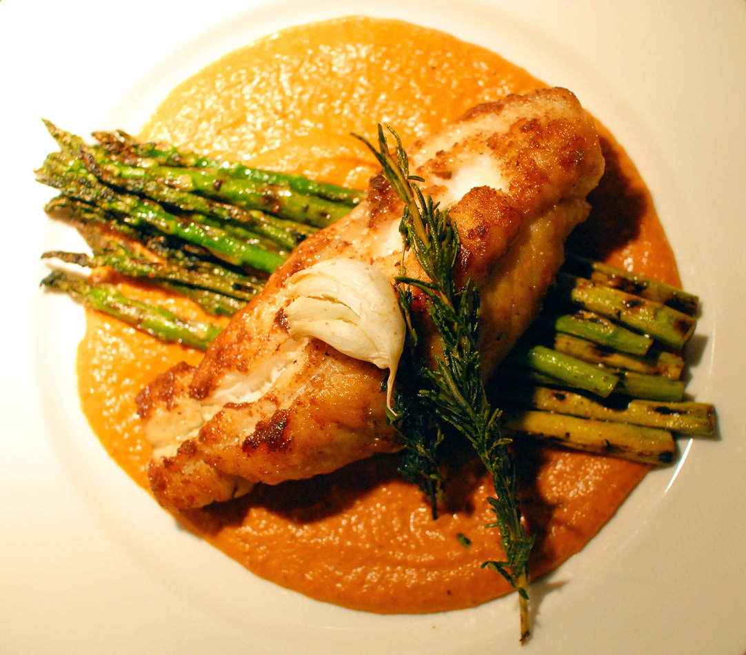 Abby & Sam's Kitchen: Monkfish with grilled asparagus and romesco