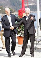 I presidenti Tadic e Josipovic nell'incontro di Opatija il 24 marzo (Foto Zeljko Sop/CROPIX dal sito di Jutarnji List)