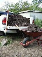 A bunch of dirt being moved using truck, wheelbarrow, and shovel.