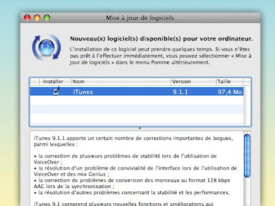 itunes win mac update Mise à Jour iTunes 9.1.1 Mac et Windows (gratuit)