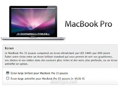 macbook alu mat MacBook Pro Alu a Ecran Antireflet Disponible
