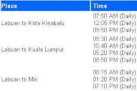 Flight Timetable from Labuan