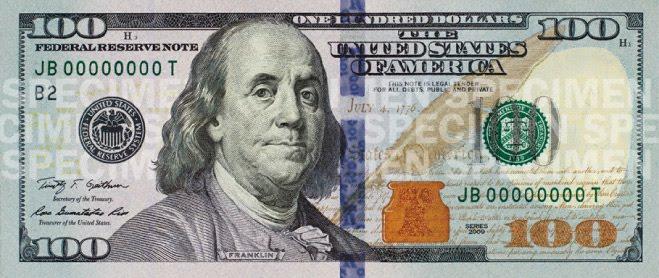 2 dollar bill back. 100 dollar bill back and front