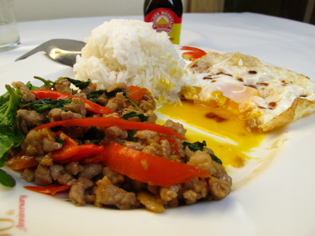 Pad ga prow gai spicy fried chicken with basil pad ga prow gai spicy fried chicken with basil leaves forumfinder Image collections