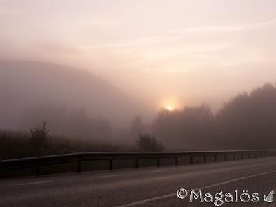 Soluppgång i dimman.