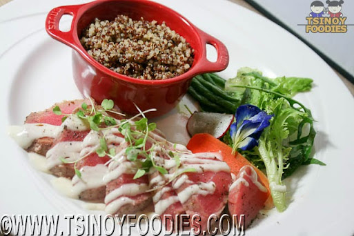seared pink peppercorn crusted tuna