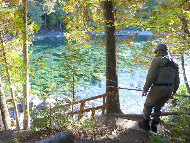 Alain Laprade walking down to Grand Black on the Bonaventure River
