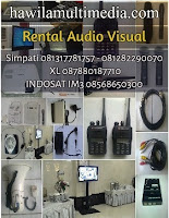 Tempat jasa sewa peralatan event menyewakan perlengkapan seperti rental Handy Talky (HT), Walkie Talkei (WT), penyewaan Clip On, Headset, Ear Monitor, Microphone Wireless, Mic Classic, Retro, Mik Jadul, Condesner, peminjaman Speaker Monitor, Speaker Aktif, Speaker Jinjing Untuk Meeting, Sound Outdoor, Condensor, persewaan Portable Wireless PA Amplifier, Mixer Audio 16 Channel, Megaphone Toa, Speaker Pinggang, Sound System. Lcd Projector, Proyektor Epson EB-X100, Epson EB-X200, Epson EB-X350, Screen Infocus, Layar Proyektor, Edirol Roland V8, Handycam, Camcorder, Standing Bracket TV, Kasur Angin, Kabel VGA, Kabel HDMI, Kabel RCA, Kabel BNC, Splitter, Switcher, Video Mixer, Kebel Listrik, Kabel Extension, Kabel Colokan.