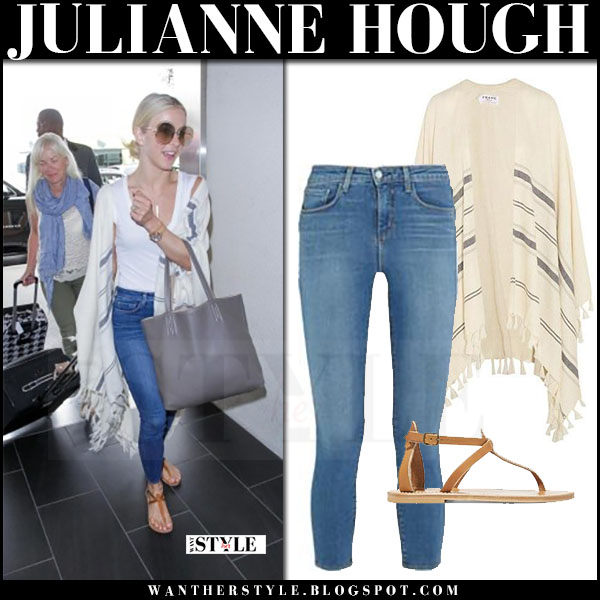 Julianne Hough in striped fringed cape and jeans what she wore june 21 2017 airport style