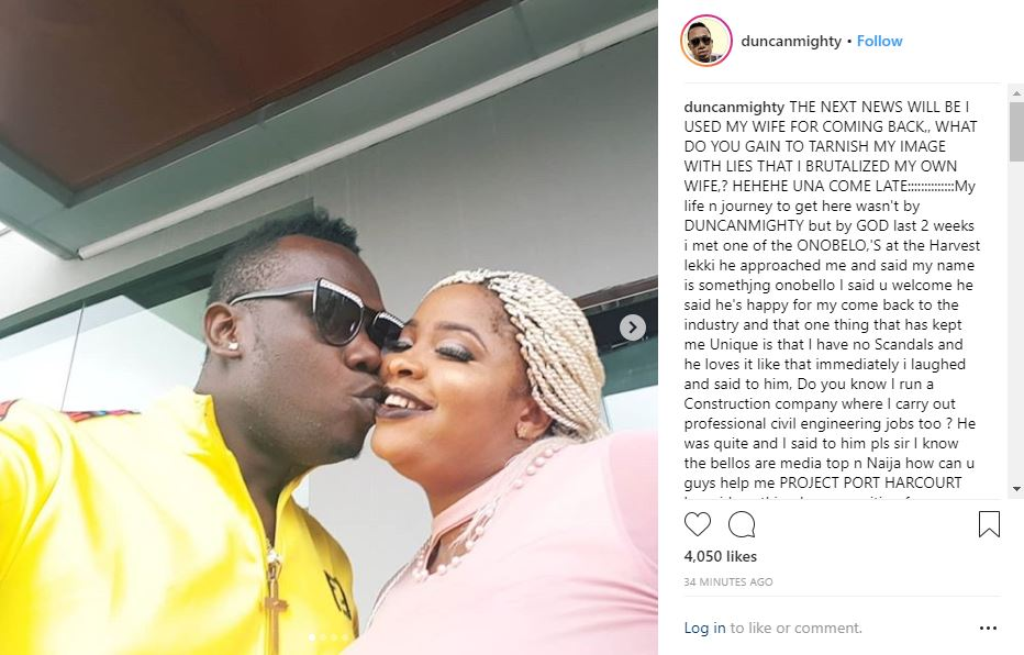 BREAKING !!!:  Duncan Mighty Reacts To Beating His Wife, Vivien Nwakanma Mighty