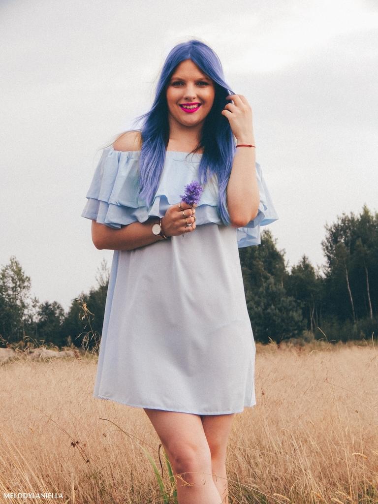 13 daniel wellington ootd lookbook fashion blogger modowe blogerki z łodzi melodylaniella blue hair niebieskie włosy baby blue hiszpanka venita błękitna sukienka stylizacja outfit modna polka pastel hair