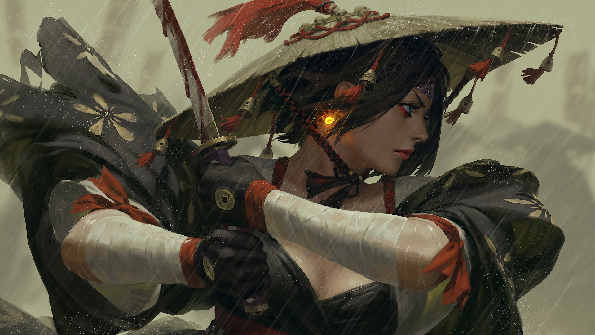 Samurai Girl Katana Fantasy Art 4k Wallpaper 89