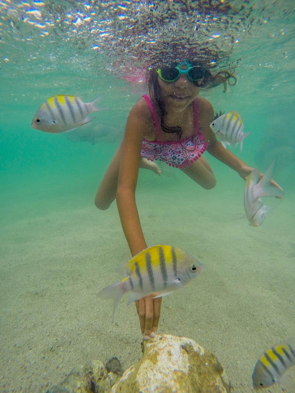 minha filha no mergulho em Paripueira