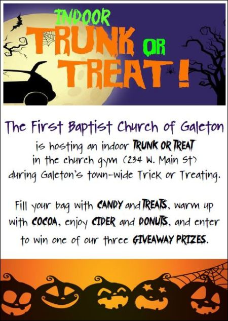 10-31 Indoor Trunk or Treat, Galeton Firts Baptist