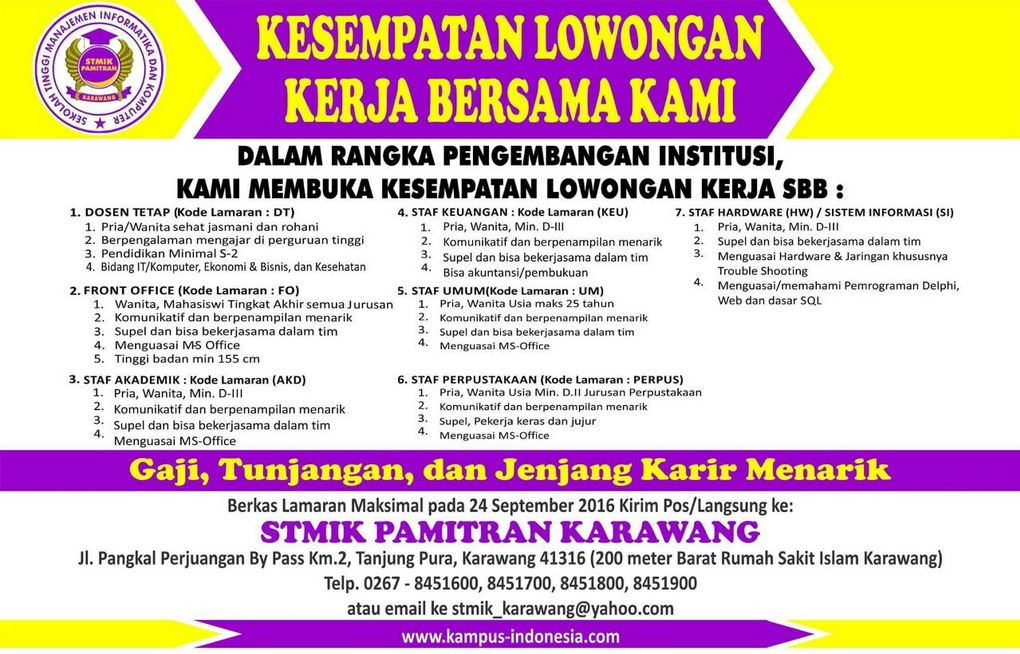 Info Loker Via Pos Karawang  lowongan kerja d3 via pos pt