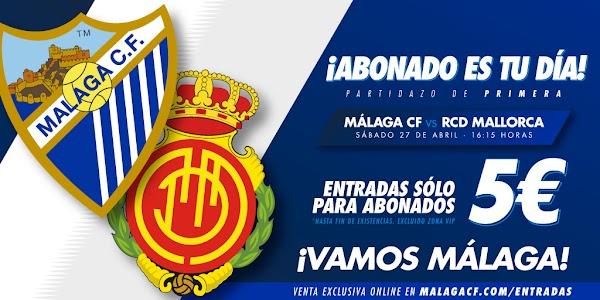 Málaga CF - Mallorca, con entradas a cinco euros para abonados