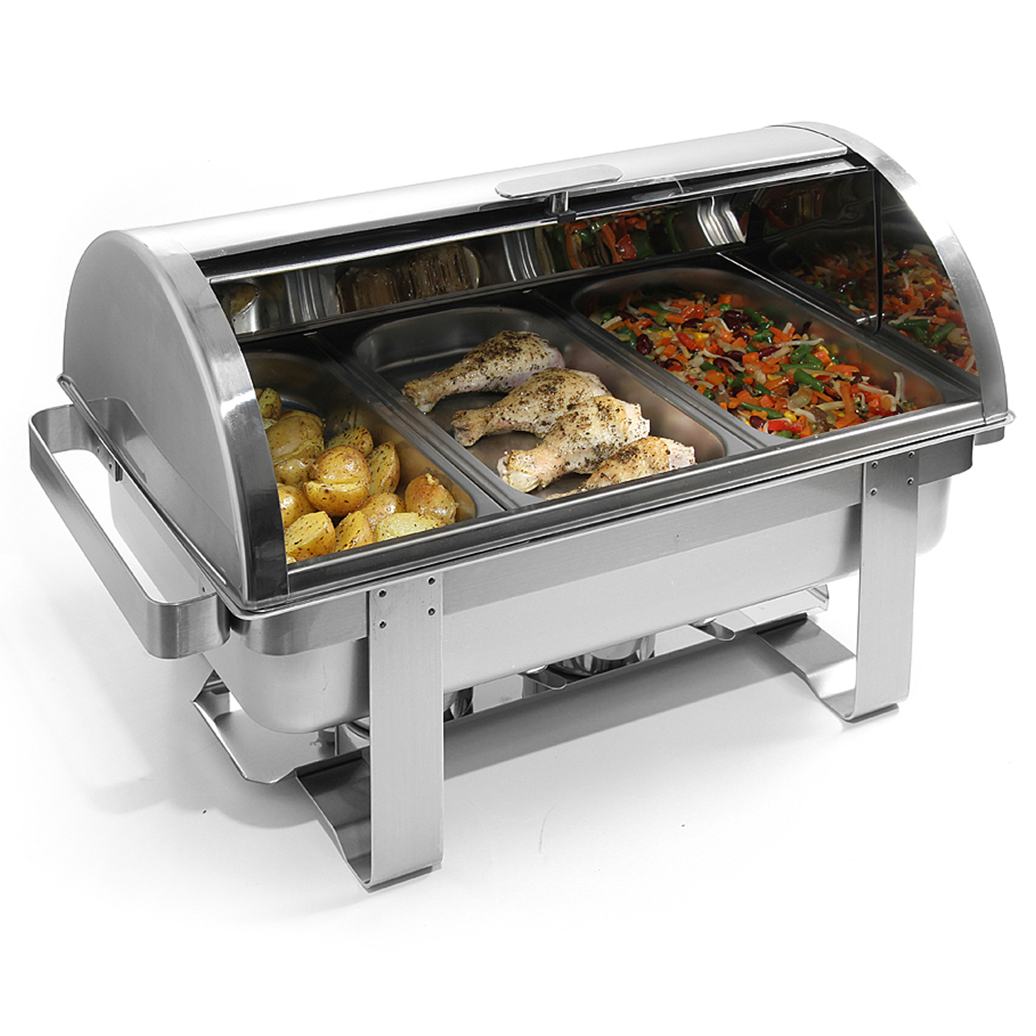 chafing dish combustibil cu capac roll-top