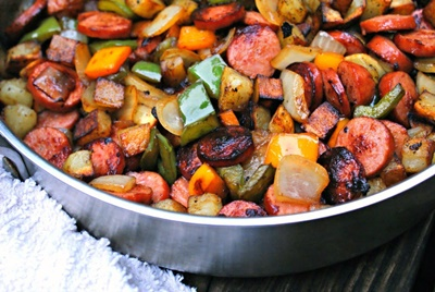 Kielbasa Pepper Onion And Potato Hash