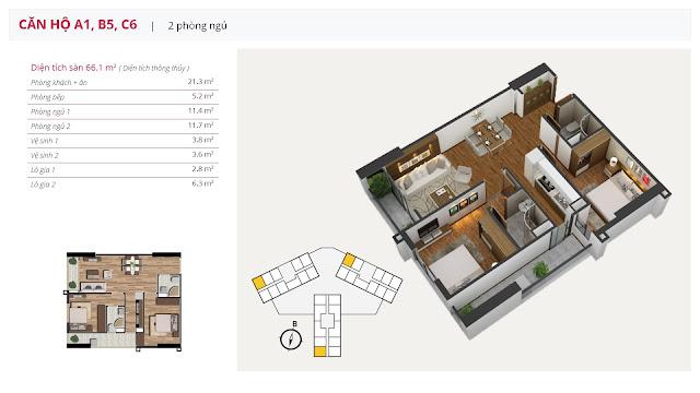 Thiết kế căn hộ 2 phòng ngủ điển hình của chung cư The Golden An Khánh