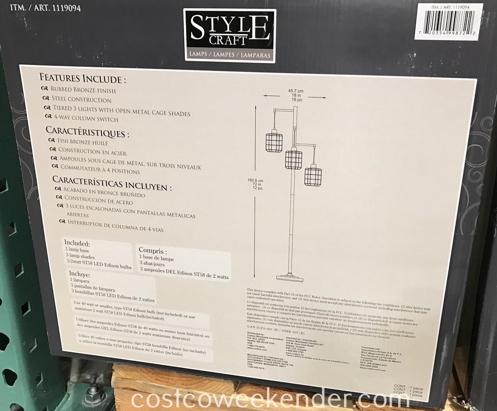 StyleCraft 3-Light Floor Lamp: modern technology with a retro look