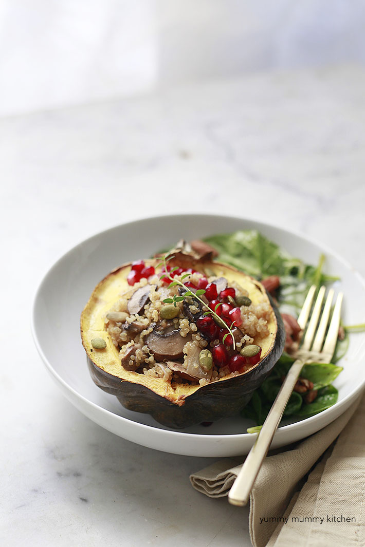 ... quinoa stuffed acorn squash is a beautiful vegetarian-vegan dinner