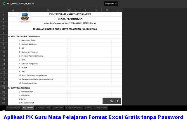 Download Aplikasi PK Guru Mata Pelajaran Format Excel Gratis tanpa Password