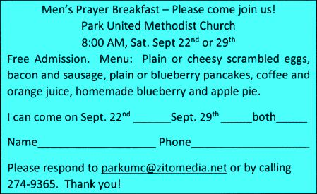 9-29 Men's Prayer Breakfast, Park Church, Coudersport