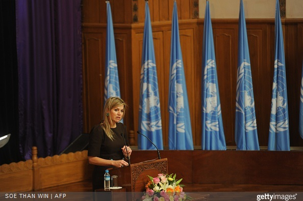 Queen Maxima of the Netherlands delivers a speech at Yangon University in Yangon