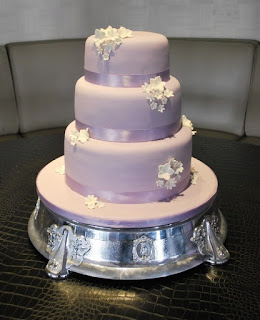 3 Tiered Patterned Lavender Wedding Cakes