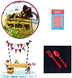 Pirates Tableware and Cake Topper Kit - Multi-colored