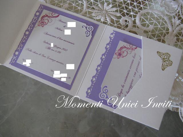 IMG_4520 Partecipazione pocket in lilla con brillantini e stickersColore Lilla Partecipazioni Pocket