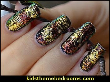 Gold Nail Art Peacock Feather nail Wraps Water Transfers Stickers Decal