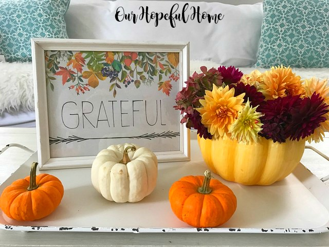 ceramic pumpkin fall flowers grateful printable in frame