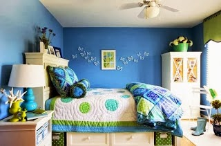 Habitación juvenil verde azul