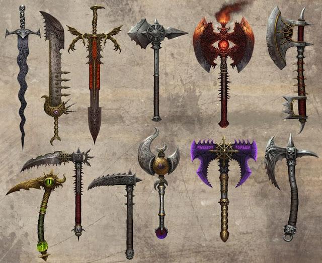 Olha a espada do caos ali! Juta a outras armas tão tenebrosas quanto ela.