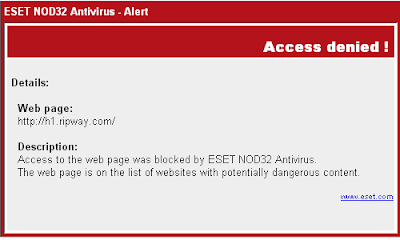 ESET NOD32 Antivirus Alert - Access denied - web page h1.ripway.com