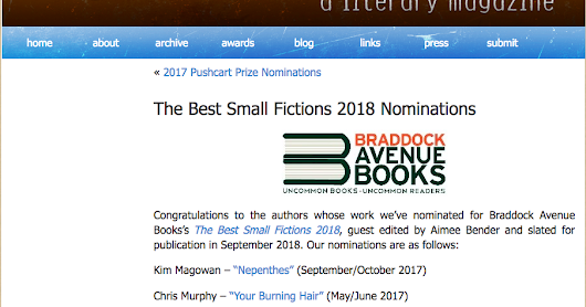 "Story ""The Lady Clock"" Nominated for Best Small Fictions 2018"