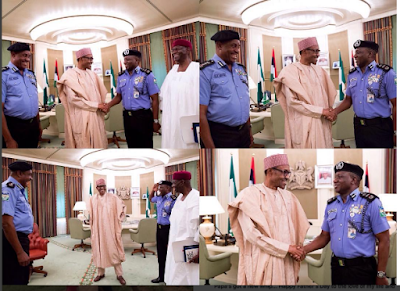Pres. Buhari meets Ibrahim Kpotun Idris, the Acting Inspector-General of Police, and Solomon Arase, the retiring IGP (photo)