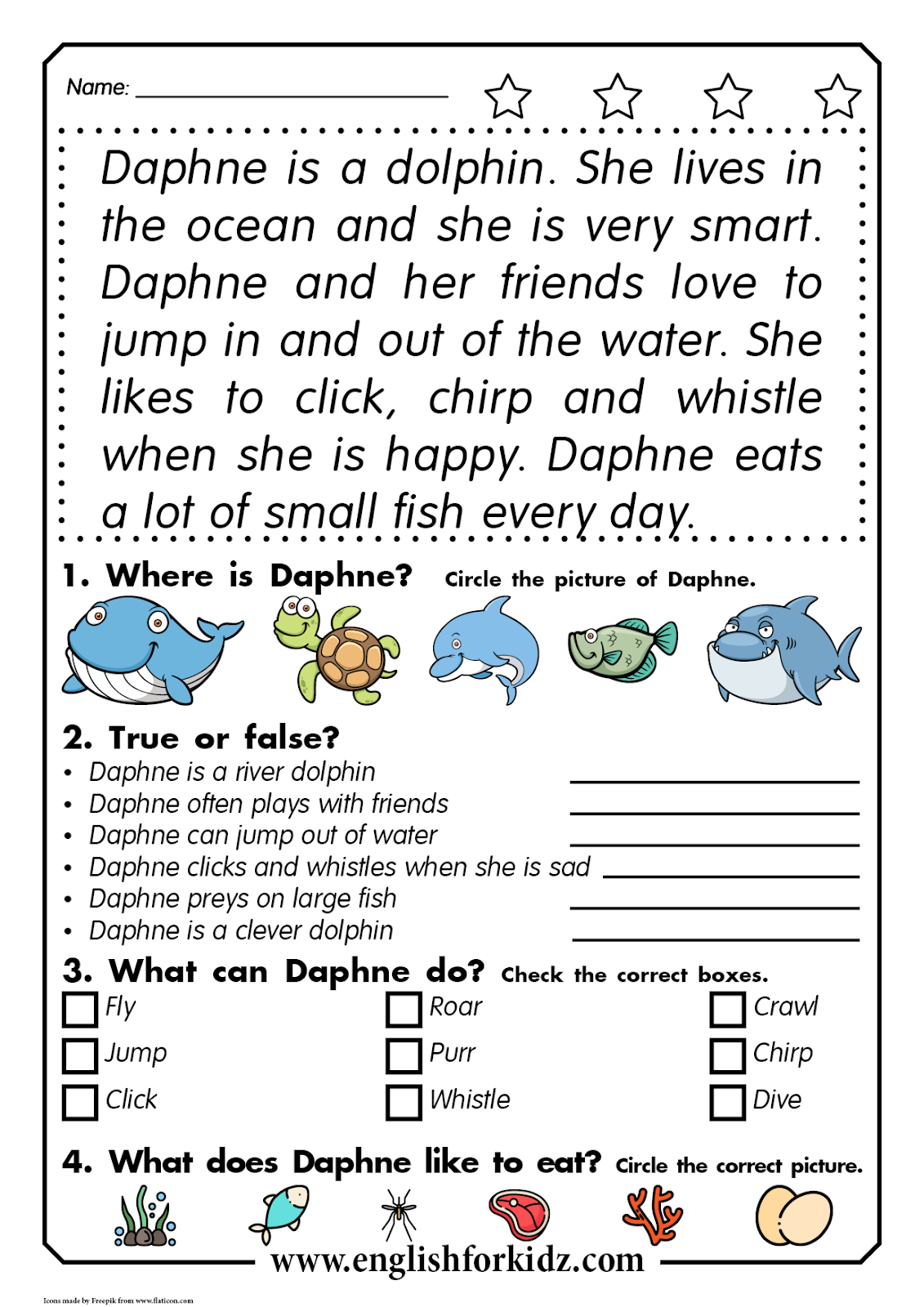 - Reading Comprehension Worksheets: Daphne The Dolphin