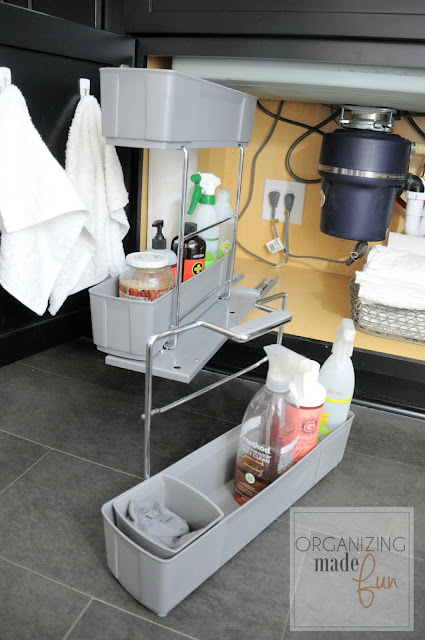 Pull out kitchen caddy with detachable cleaning caddy under kitchen sink :: OrganizingMadeFun.com
