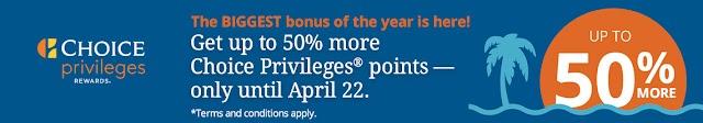 Choice Privileges 買分活動 2019年4月22日前可享50% Bonus