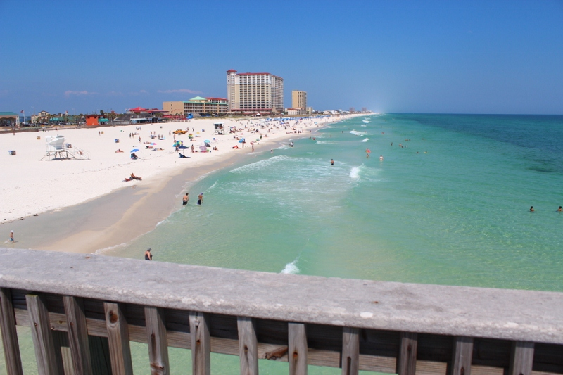 View Of Beautiful Beach At Pensacola From Gulf Pier