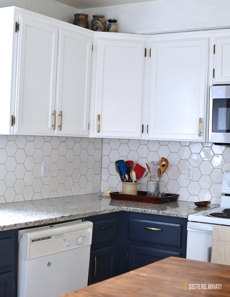a two toned diy kitchen remodel diy kitchen remodel a two toned diy kitchen remodel with hexagon tile