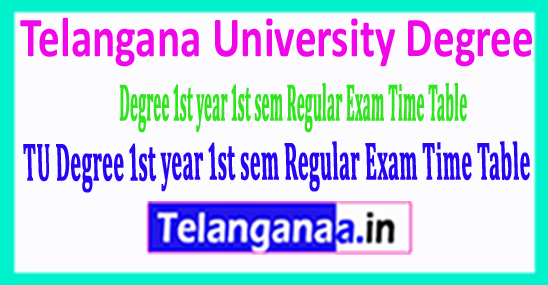 Telangana University Degree 1st year 1st sem Regular Exam Time Table 2018