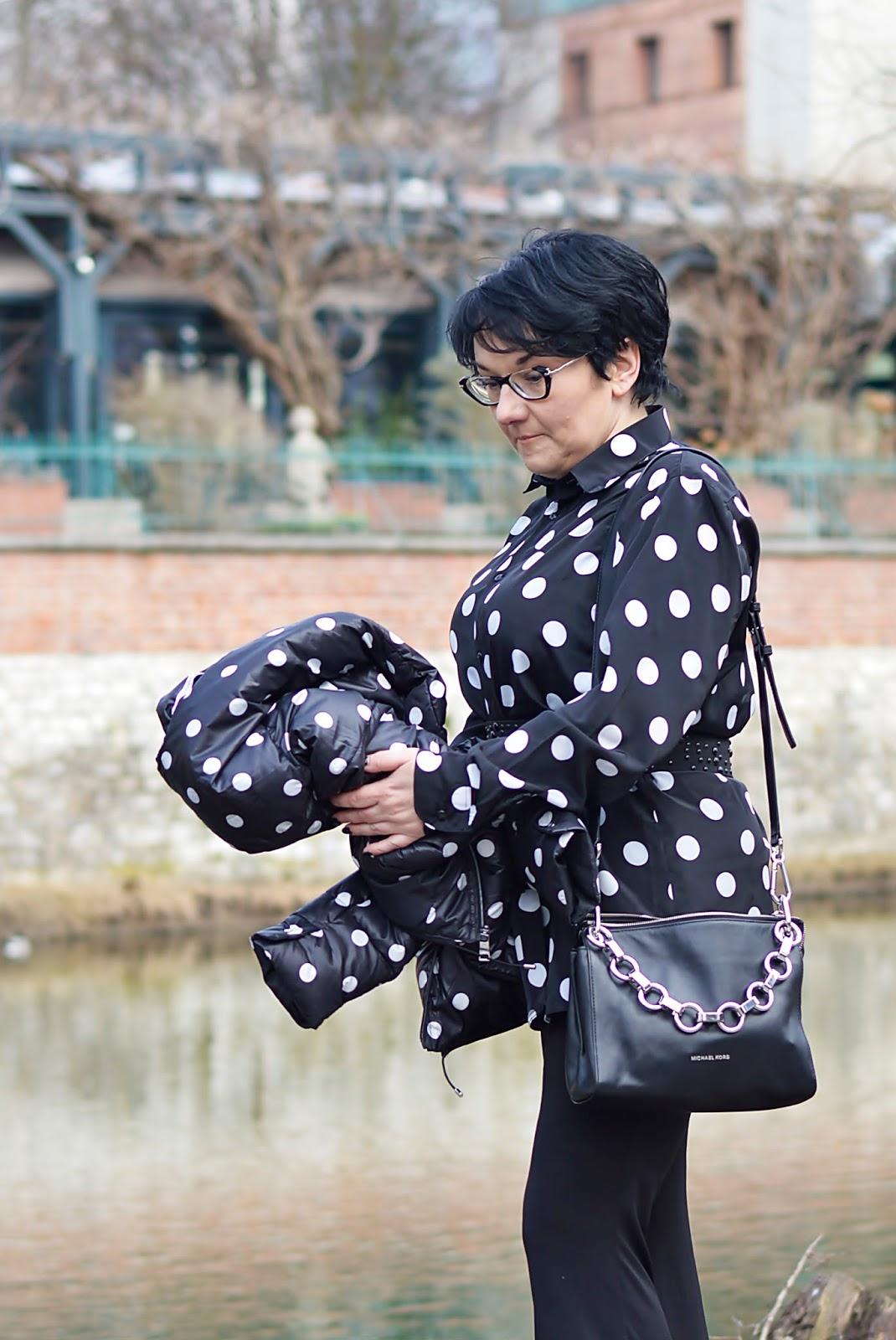 Michael Kors bag, polka dots, black and white style