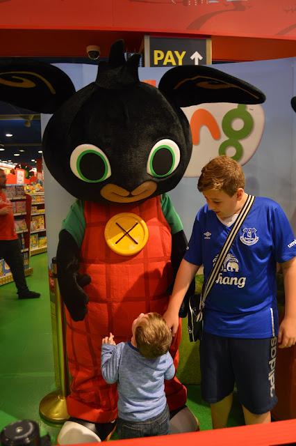 two boys meeting Bing Bunny at Hamleys