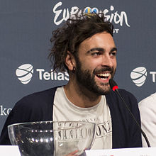 Mengoni at a press conference ahead of his performance at the 2013 Eurovision