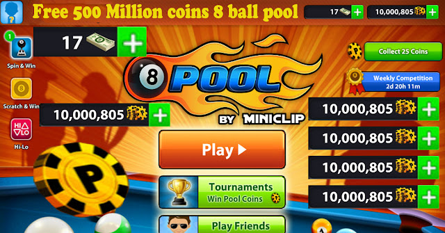 Free 500 Million coins 8 ball pool