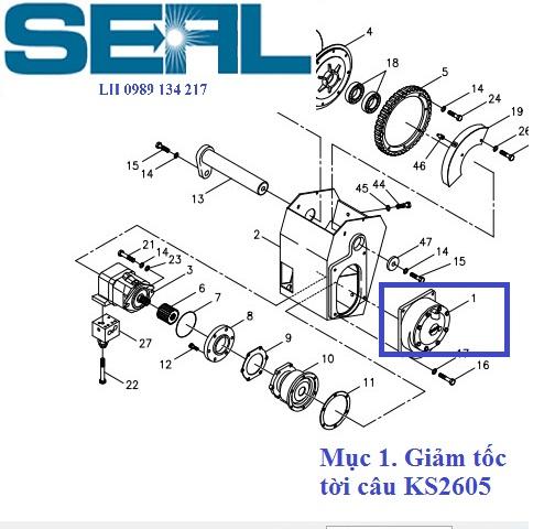 Hộp giảm tốc tời cẩu Kanglim 10 tấn KS2605-A1035180